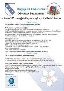 Rugsėjo 13 ir 14 d. kviečiame į Obelius